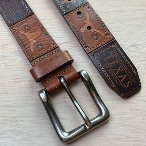 Fossil University of Texas patchwork leather belt